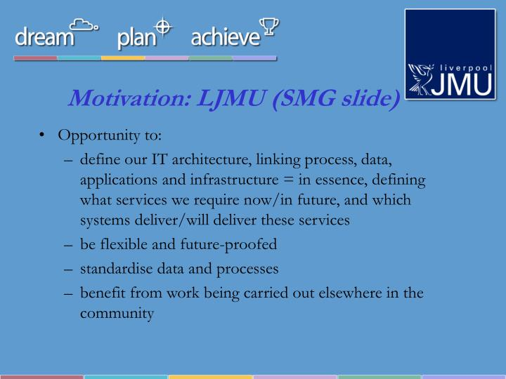 Motivation: LJMU (SMG slide)