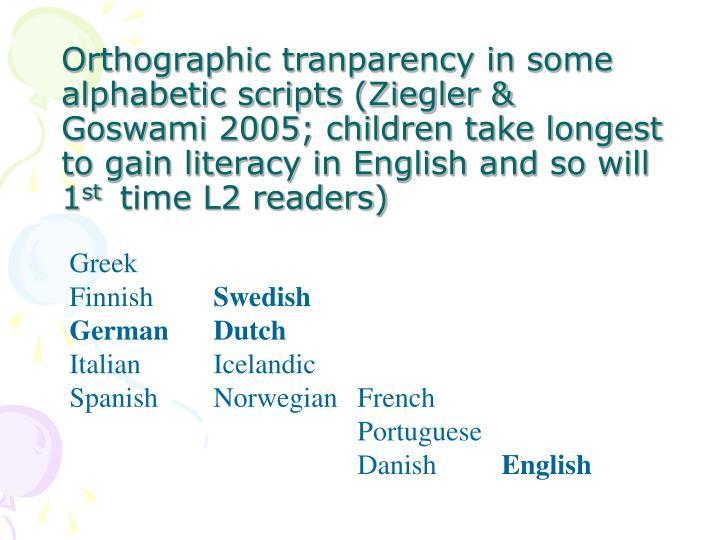 Orthographic tranparency in some alphabetic scripts (Ziegler & Goswami 2005; children take longest to gain literacy in English and so will 1