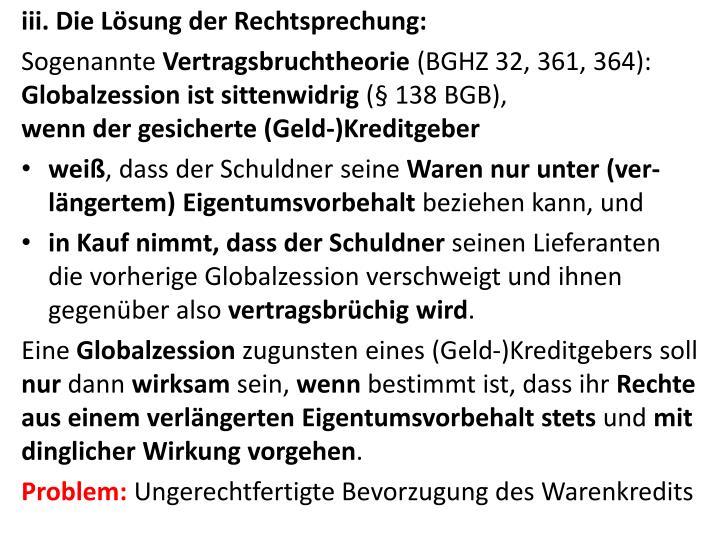 iii. Die Lösung der Rechtsprechung: