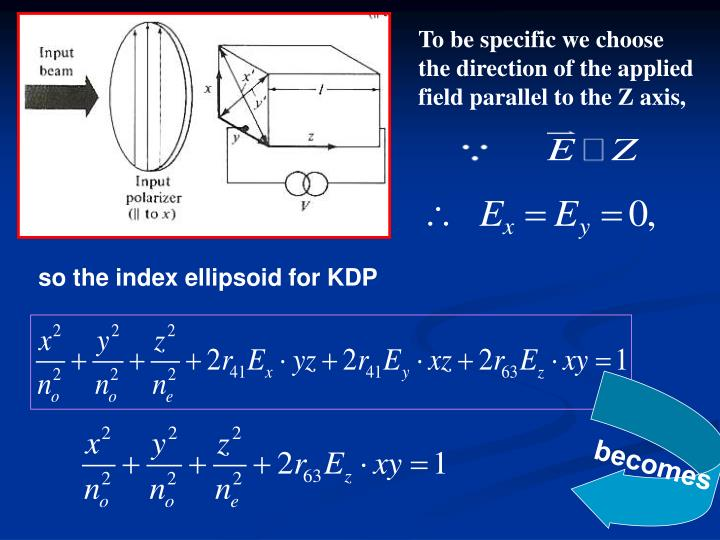 To be specific we choose the direction of the applied field parallel to the Z axis,