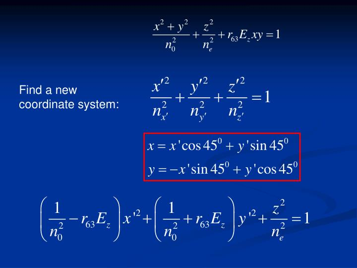 Find a new coordinate system: