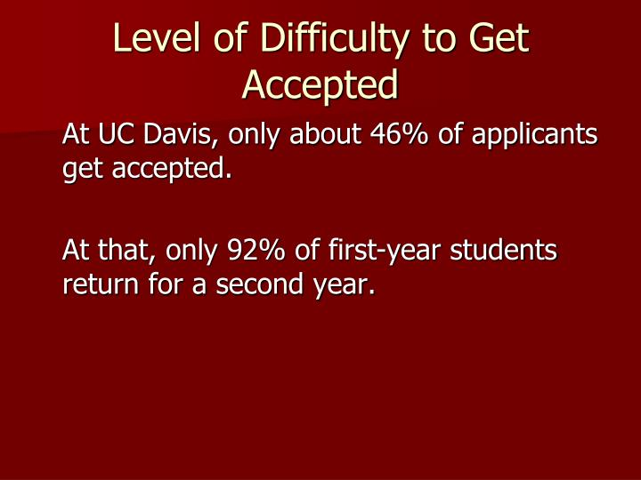 Level of Difficulty to Get Accepted