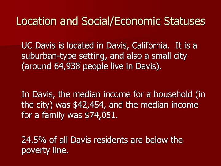 Location and social economic statuses