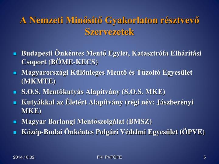 A Nemzeti Minősítő Gyakorlaton résztvevő Szervezetek