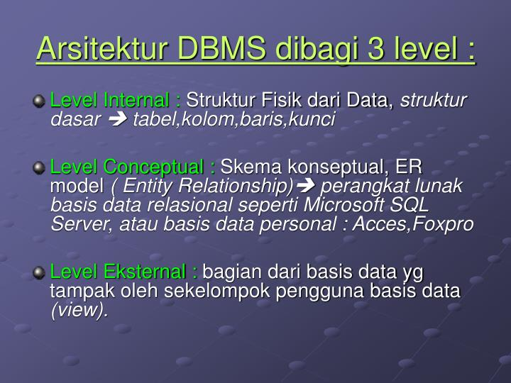 Arsitektur DBMS dibagi 3 level :
