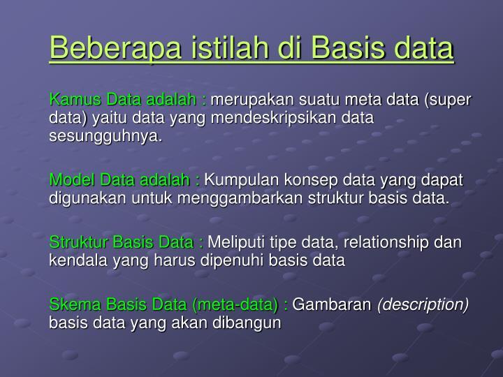 Beberapa istilah di Basis data