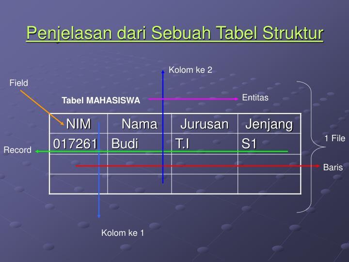 Penjelasan dari Sebuah Tabel Struktur