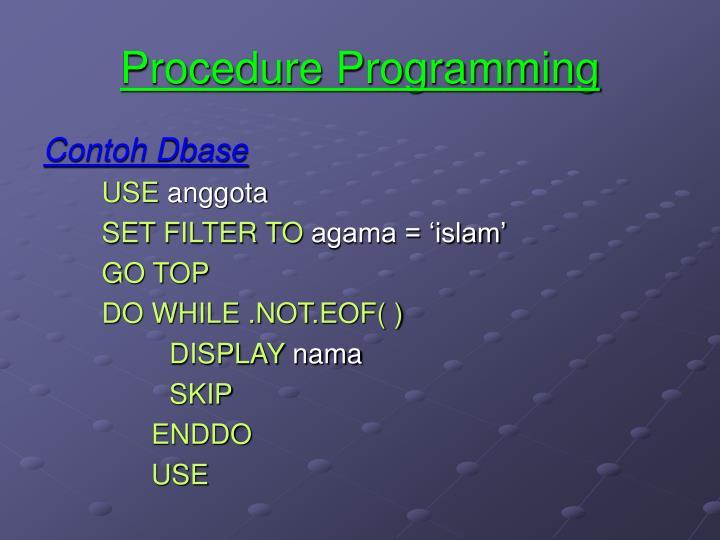Procedure Programming