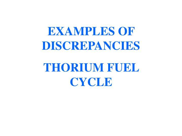 EXAMPLES OF DISCREPANCIES