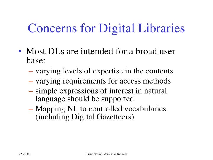 Concerns for Digital Libraries