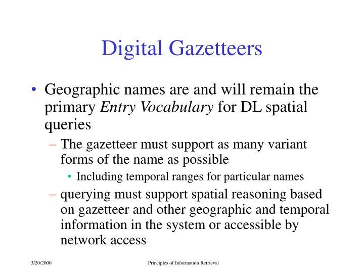 Digital Gazetteers
