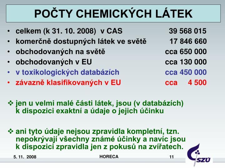 POČTY CHEMICKÝCH LÁTEK