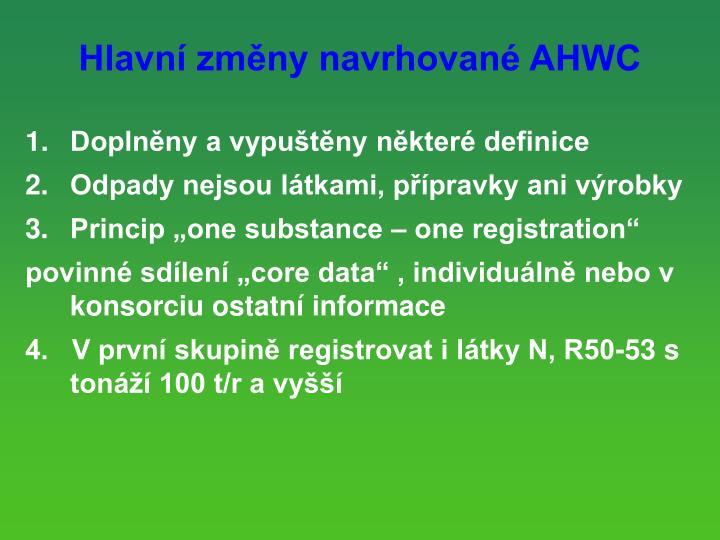 Hlavn zmny navrhovan AHWC