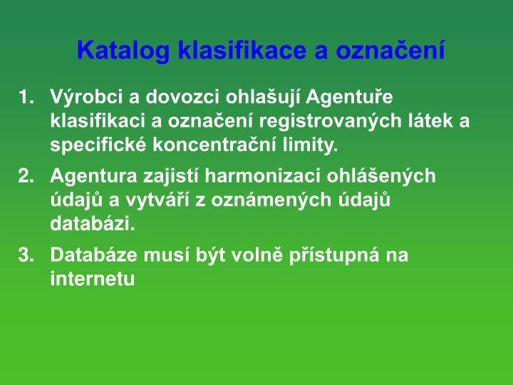 Katalog klasifikace a oznaen