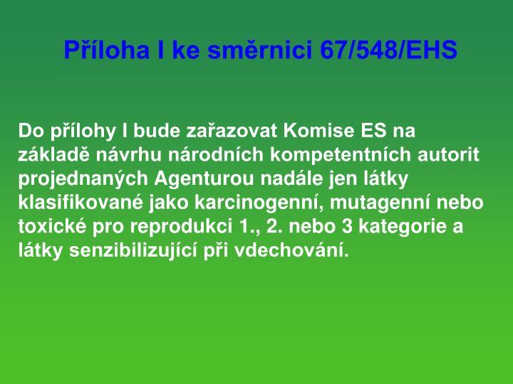 Ploha I ke smrnici 67/548/EHS