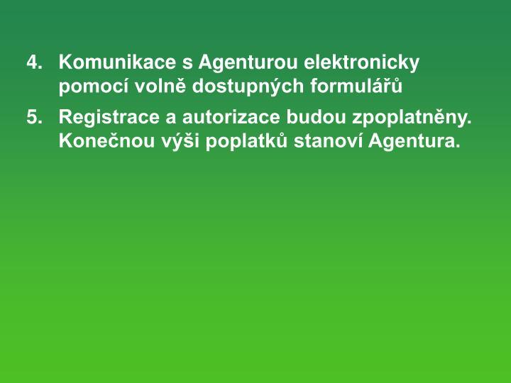 4.  Komunikace s Agenturou elektronicky pomoc voln dostupnch formul