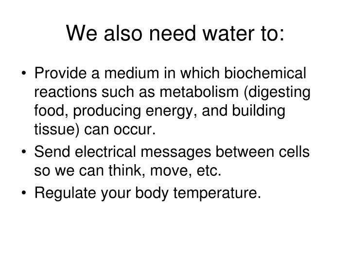 We also need water to:
