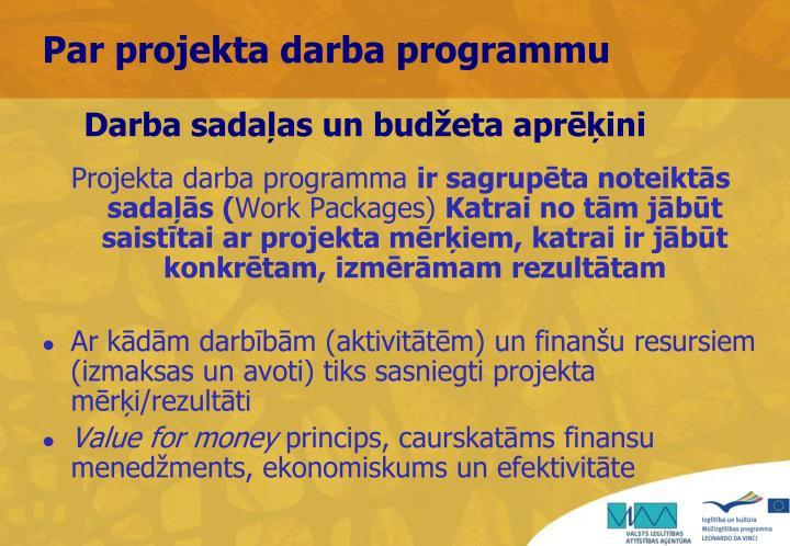 Darba sadaļas un budžeta aprēķini