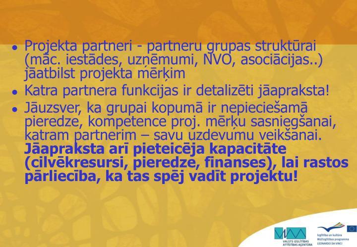 Projekta partneri - partneru grupas struktūrai (māc. iestādes, uzņēmumi,