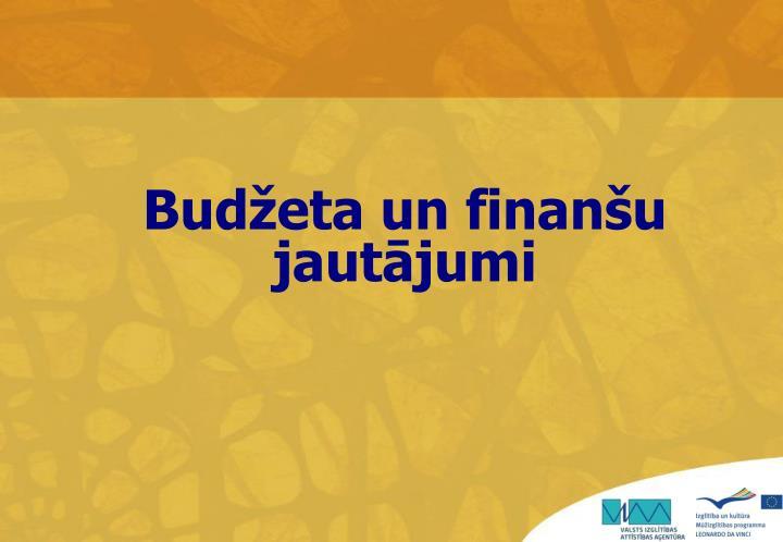 Budžeta un finanšu jautājumi