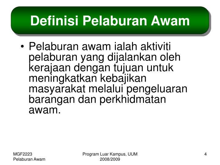 Definisi Pelaburan Awam