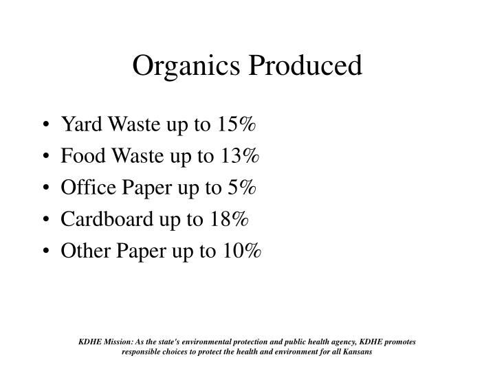 Organics Produced