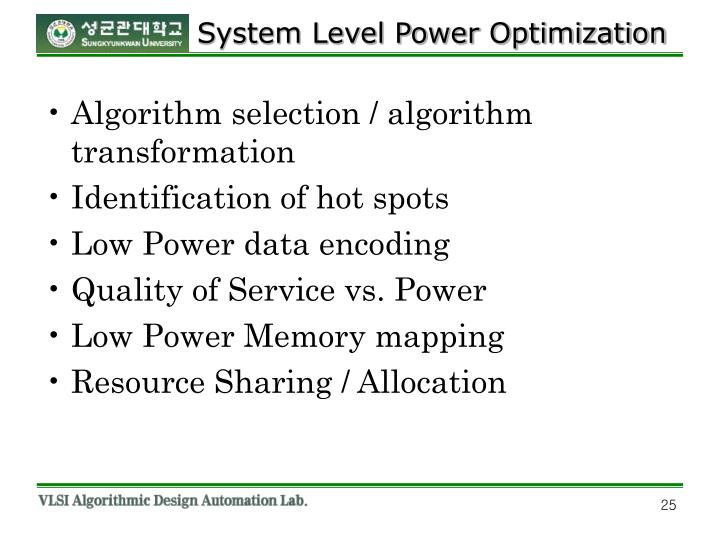 System Level Power Optimization