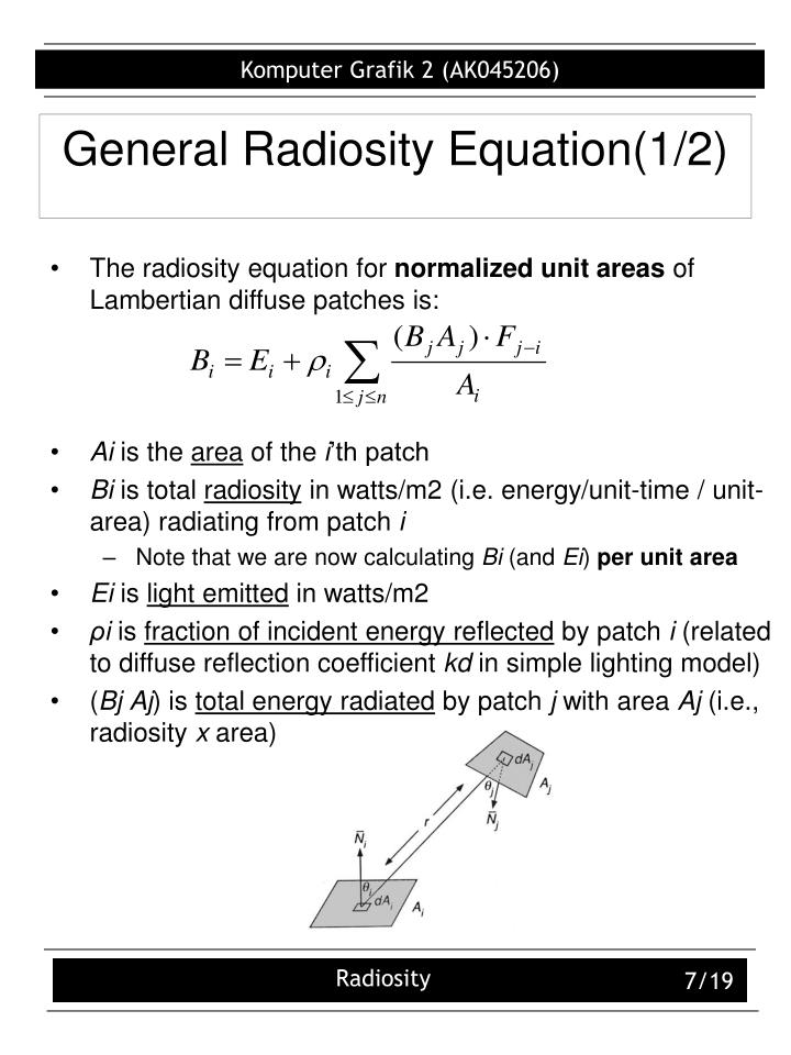 General Radiosity Equation(1/2)