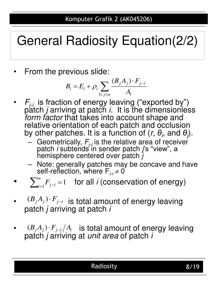 General Radiosity Equation(2/2)