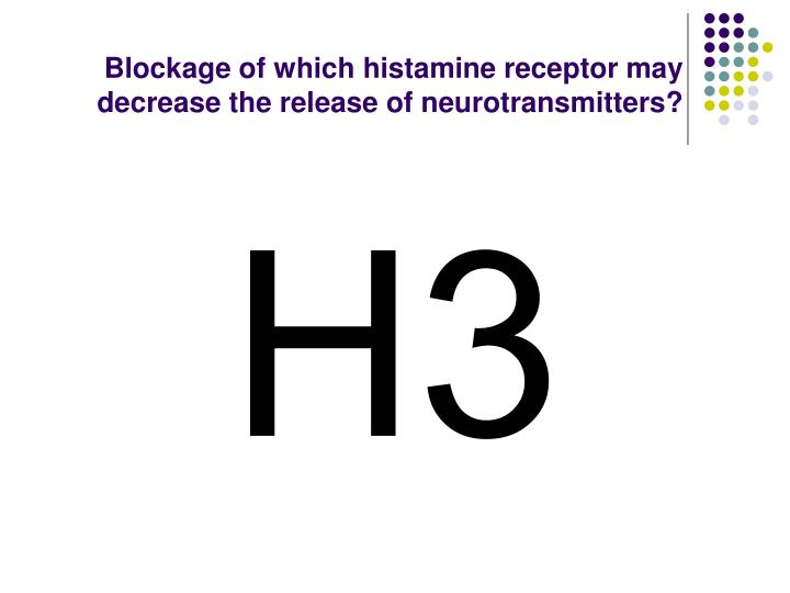 Blockage of which histamine receptor may decrease the release of neurotransmitters?