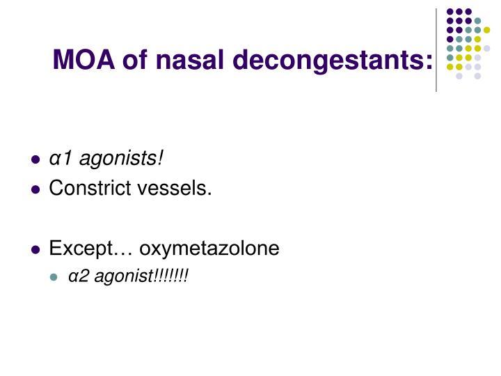 MOA of nasal decongestants: