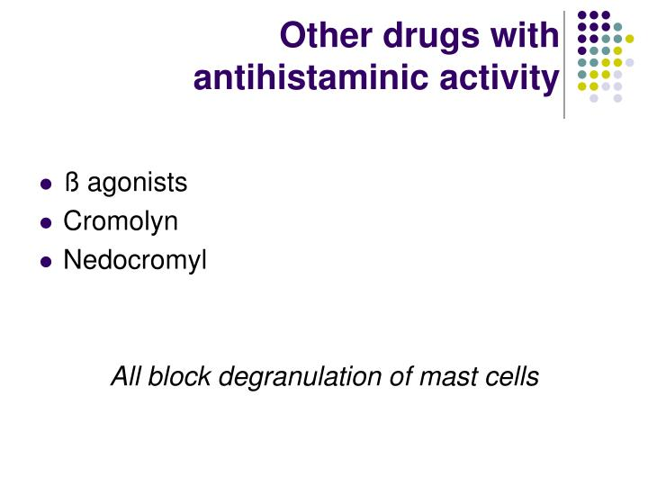Other drugs with antihistaminic activity