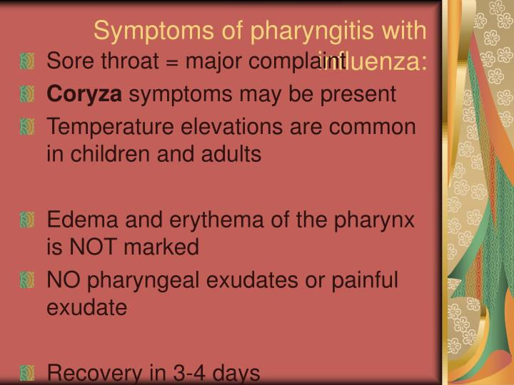 Symptoms of pharyngitis with influenza: