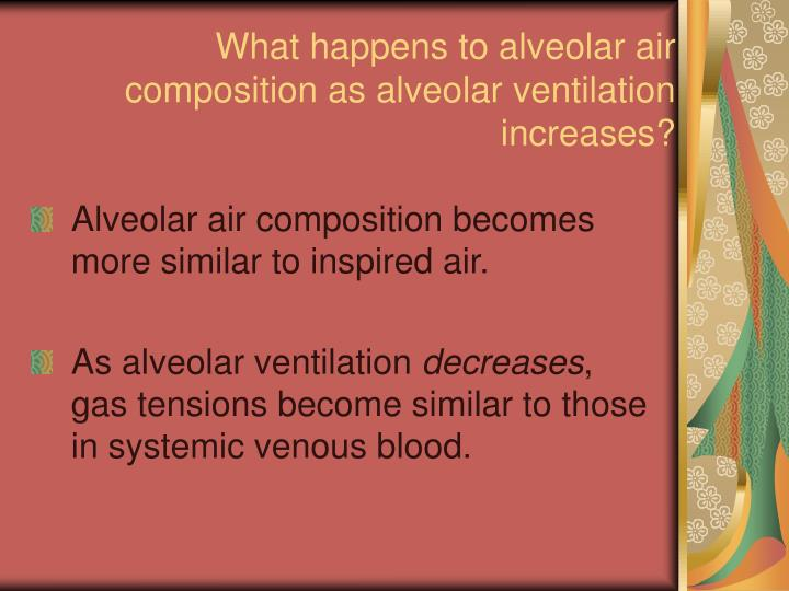 What happens to alveolar air composition as alveolar ventilation increases?