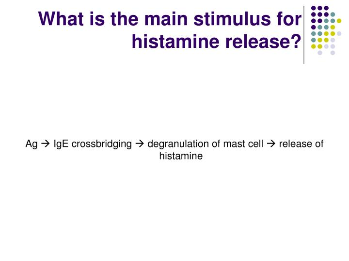 What is the main stimulus for histamine release?