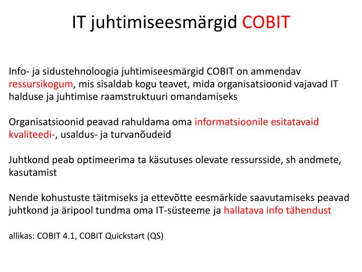 IT juhtimiseesmärgid