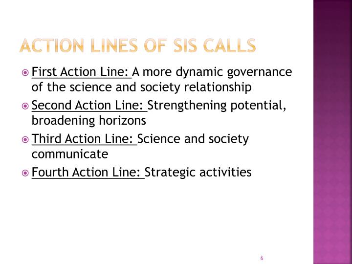 Action Lines of SIS Calls