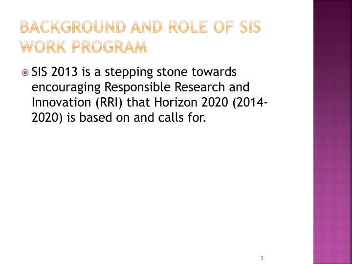 Background and role of sis work program