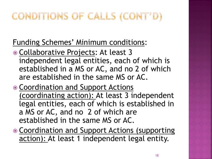 Conditions of calls (cont'd)
