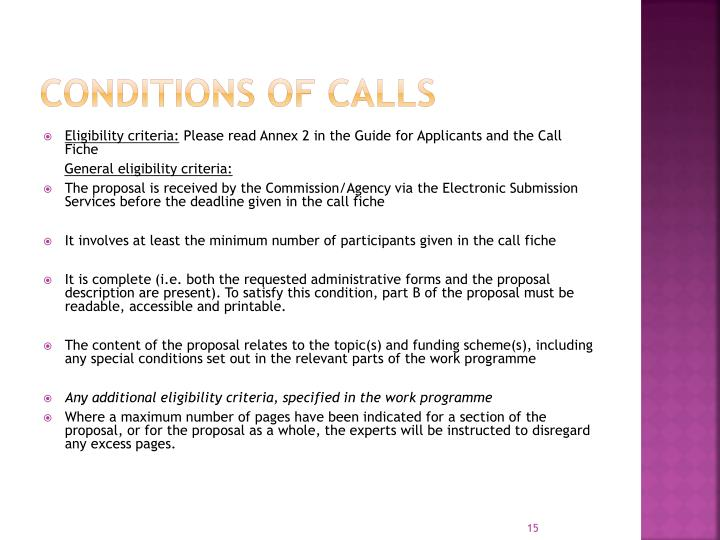 Conditions of Calls