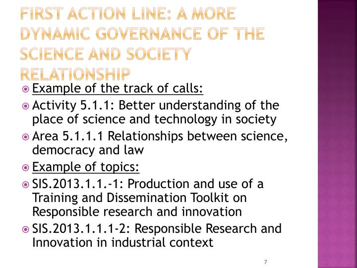 First Action Line: A more dynamic governance of the science and society relationship