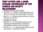 first action line a more dynamic governance of the science and society relationship