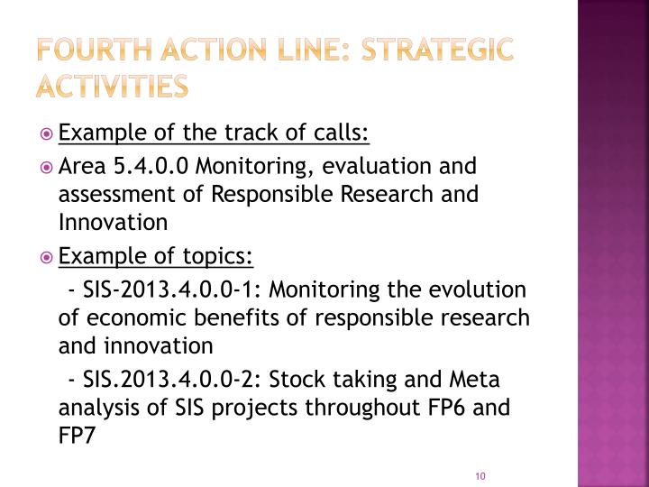 Fourth Action Line: Strategic Activities