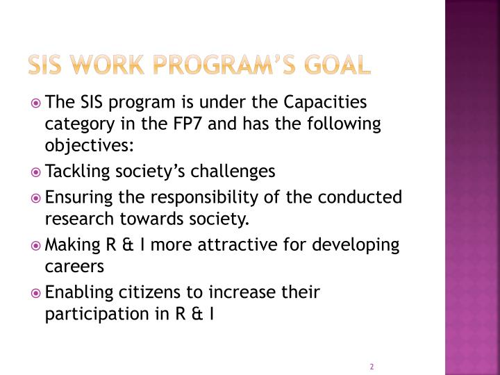 SIS Work Program's Goal