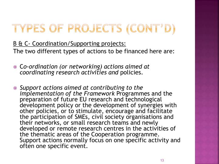 Types of projects (cont'd)
