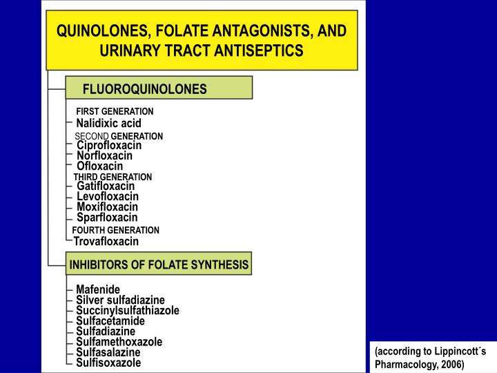 QUINOLONES, FOLATE ANTAGONISTS, AND URINARY TRACT ANTISEPTICS