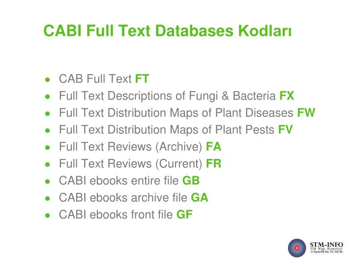 CABI Full Text Databases