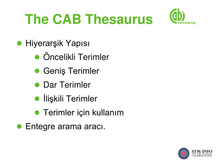 The CAB Thesaurus