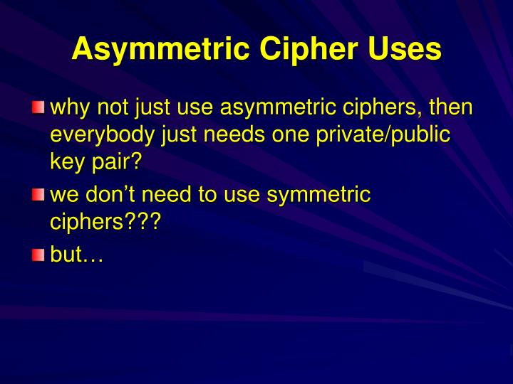 Asymmetric Cipher Uses