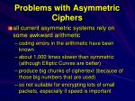 problems with asymmetric ciphers